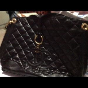 Black leather quilted tote